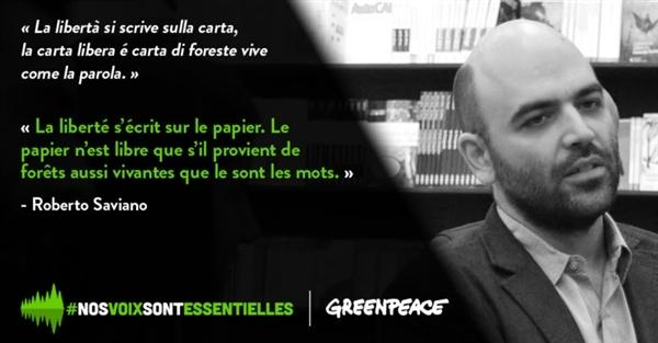 Roberto Saviano aux côtés de Greenpeace