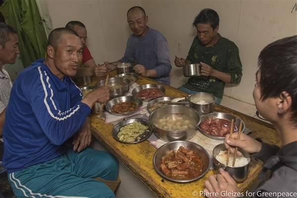 diner on a chinese fishing vessel
