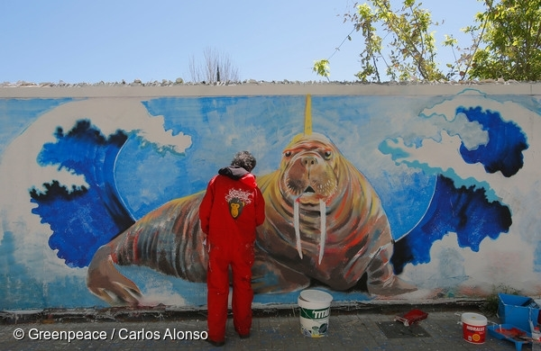 rban 'Art Festival' for the Arctic in Barcelona, with more than 35 artists painting around 600 meters of walls (1.500 square meters). The artists from 8 different countries painted their interpretation of the Arctic, and asked for its protection. 9 Apr, 2016  © Greenpeace / Carlos Alonso