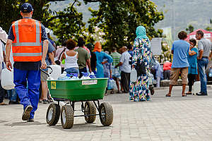 Locals Queue for Water at Brewery Spring in Newlands, Cape Town. © Kevin Sawyer