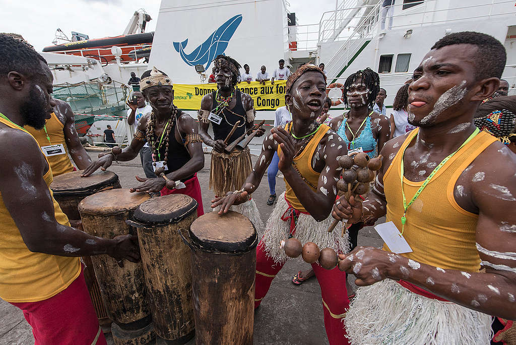 Performers at Esperanza Welcome Ceremony in Matadi. © Pierre Gleizes