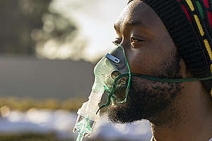 Air Pollution Action at Eskom's Megawatt Park in Johannesburg. © Shayne Robinson / Greenpeace