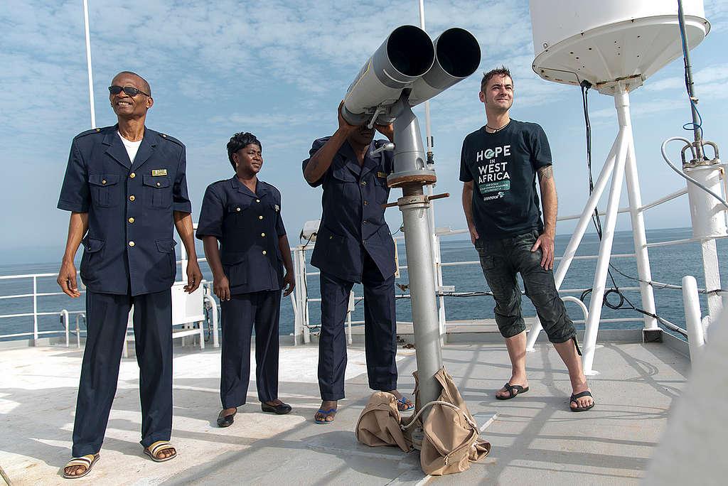 Fishery Inspectors on Esperanza in Guinea. © Pierre Gleizes / Greenpeace