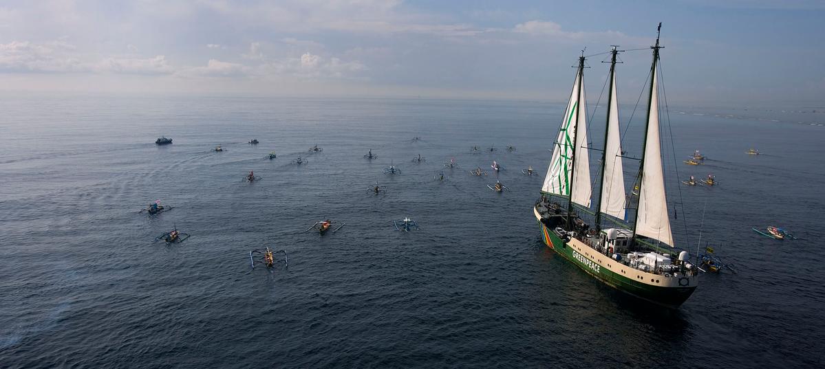 Flotilla of Fishing Boats Greets the Rainbow Warrior. © Greenpeace / Paul Hilton