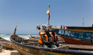 Man sitting on his boat in Senegal