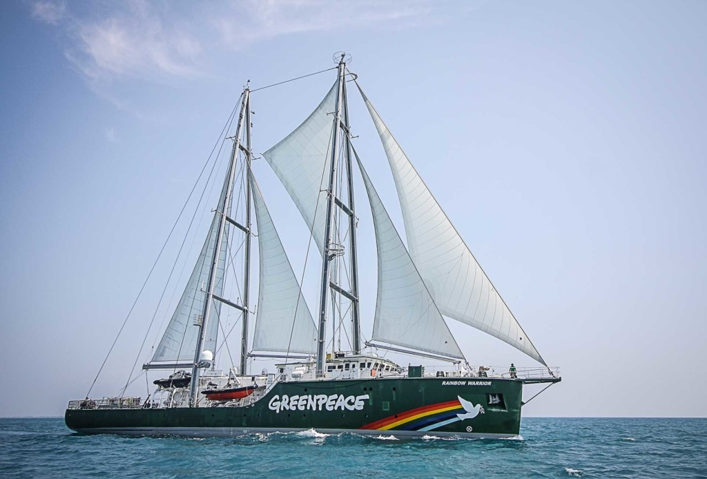 The latest Rainbow Warrior joins with dozens of fishermen boats of Pari island as they hold an action to save Pari island in Thousands Islands, North Jakarta.