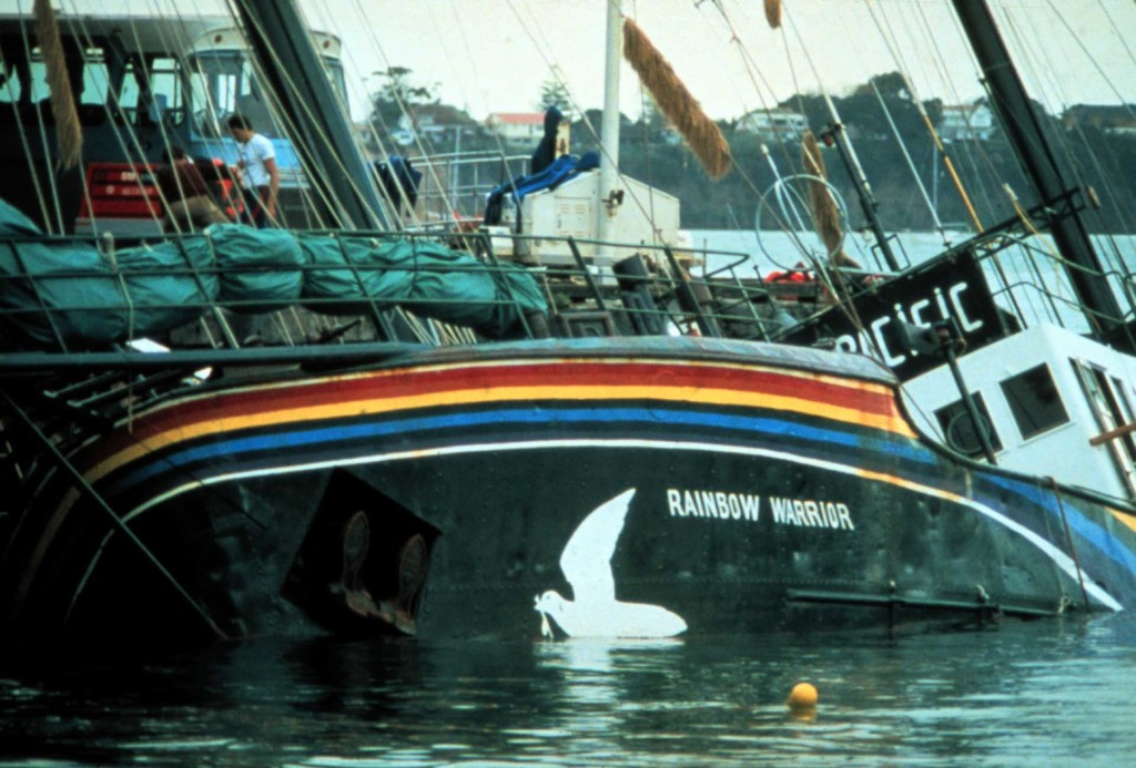 The bombed Rainbow Warrior is in Marsden Wharf in Auckland Harbour after the bombing of the Greenpeace flagship by French secret service agents.
