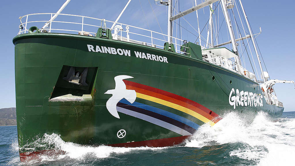 The Rainbow Warrior arrives in Wellington. The Greenpeace ship has spent the last few weeks visiting ports around the country.  © Nigel Marple / Greenpeace