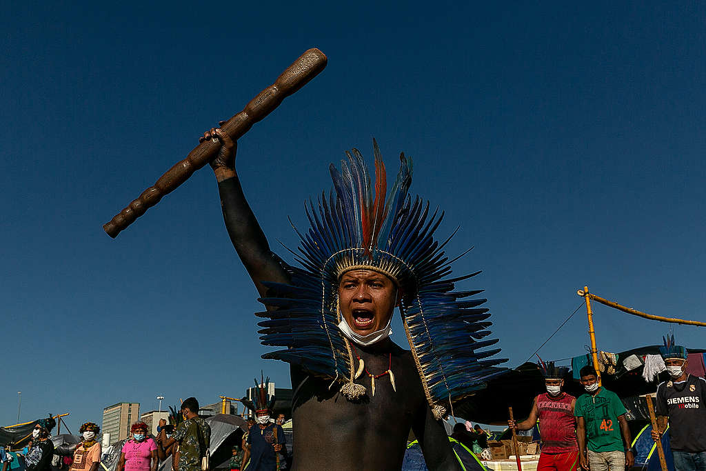 Six thousand Indigenous leaders from all over Brazil gather in Brasília from August 22nd to the 27th in the Struggle for Life camp. © Diego Baravelli / Greenpeace