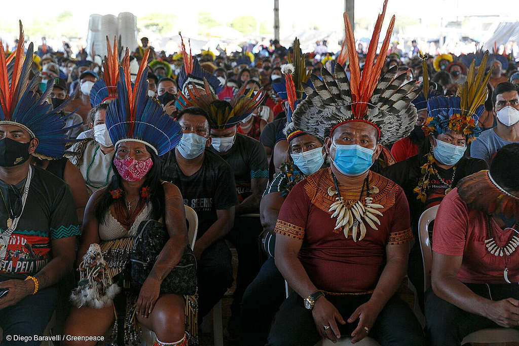 The demonstration is thought to be the biggest Indigenous protest in Brazil's history. © Diego Baravelli / Greenpeace