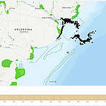 """Recreación de potencial derrame en el Mar Argentino """"Un derrame de petróleo llegaría a las costas de Buenos Aires en 11 días"""""""