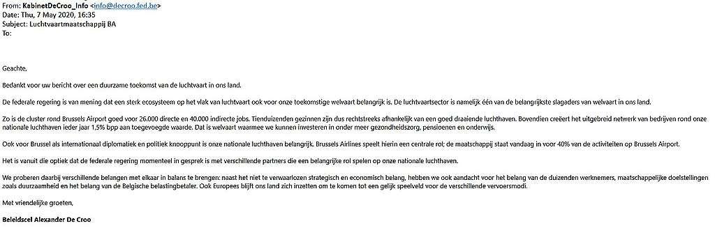 Antwoord van minister De Croo.