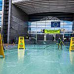 Activisten kleuren ingang Europees Parlement groen: EU-landbouwbeleid is greenwashing
