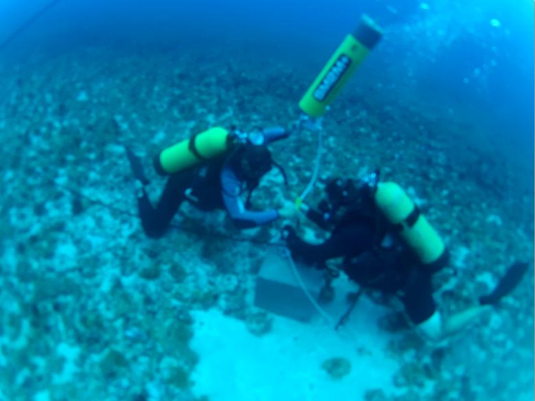 Mergulhadores no fundo do mar de Trindade.