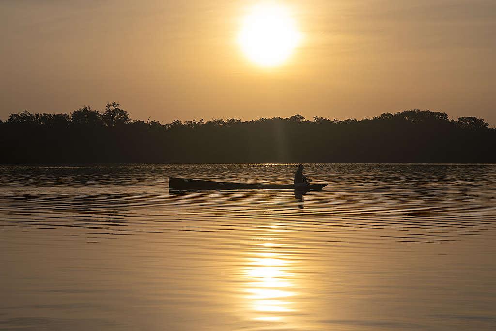 Pescador rema em rio durante por do sol