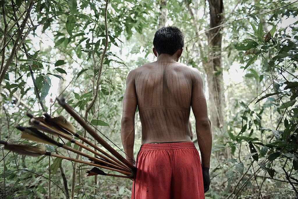 Munduruku em floresta, próximo do lago Leonardo, na Amazônia © Anderson Barbosa / Greenpeace