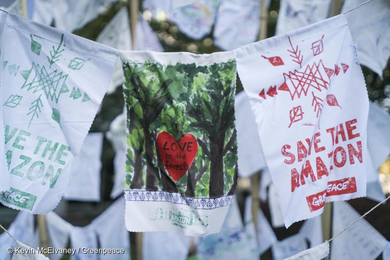 Bandeirolas expressam apoio aos povos indígenas do Brasil