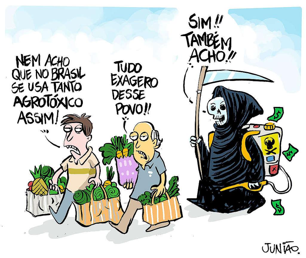 charge de Junião mostrando a morte associada à quantidade de agrotóxicos que consumimos