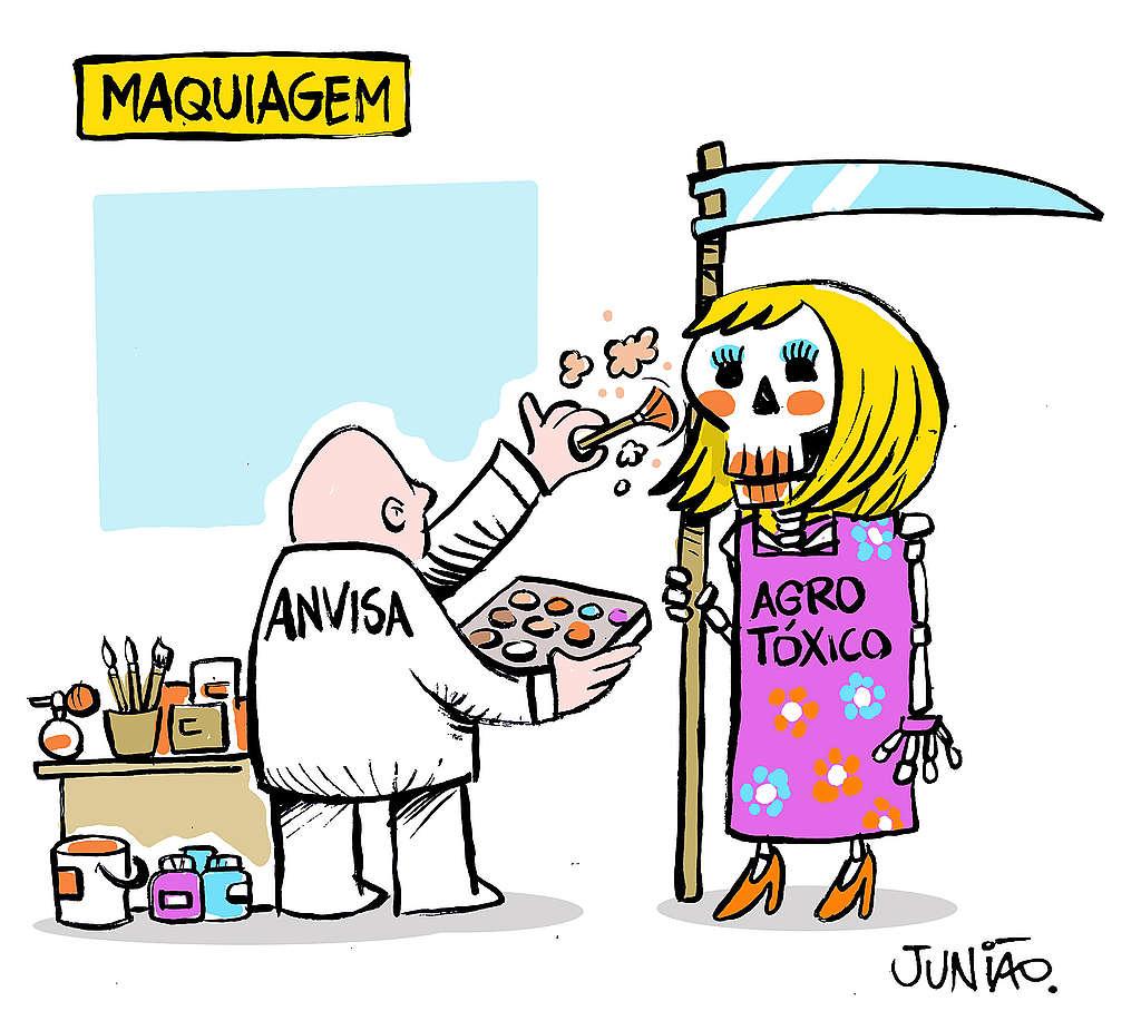 charge que mostra a Anvisa maquiando uma caveira simbolizando agrotóxicos