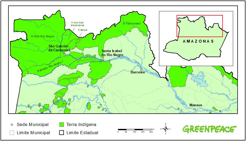 """Mapa mostra São Gabriel da Cachoeira, na região conhecida como """"Cabeça do Cachorro"""" devido ao seu formato no mapa brasileiro, que lembra a cabeça do animal"""