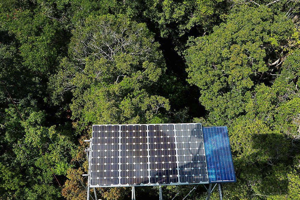 Solar Panels in the Amazon. © Greenpeace / John Novis