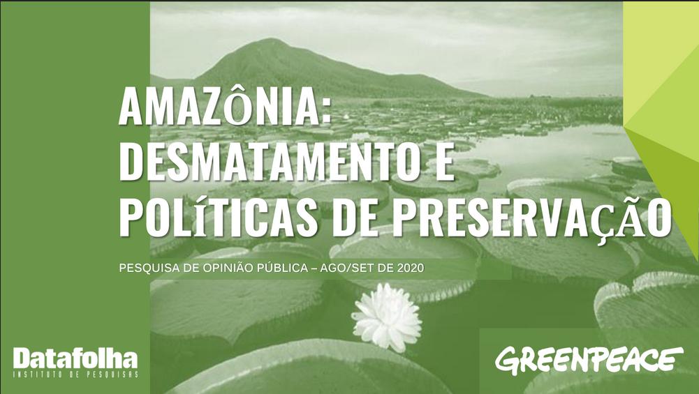 Amazônia: desmatamento e políticas de preservação - Greenpeace - Datafolha - 2020