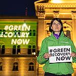 #GreenRecoveryNow! Demonstration in Switzerland. © Greenpeace / Ex-Press / Severin Nowacki