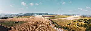 Изглед от въздуха към селски район в община Сливница, август 2020
