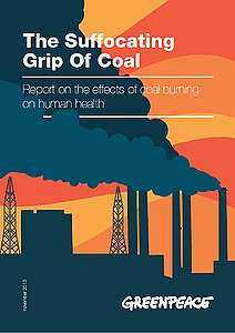 "Cover of the report ""The Suffocating Grip of Coal"", November 2013"