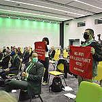Демонстрация по време на откриването на форума GreenTransition в София