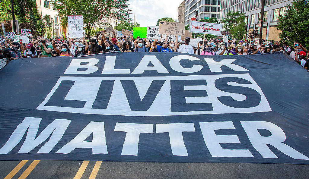 Black Lives Matter Protest in Washington DC. © Tim Aubry / Greenpeace