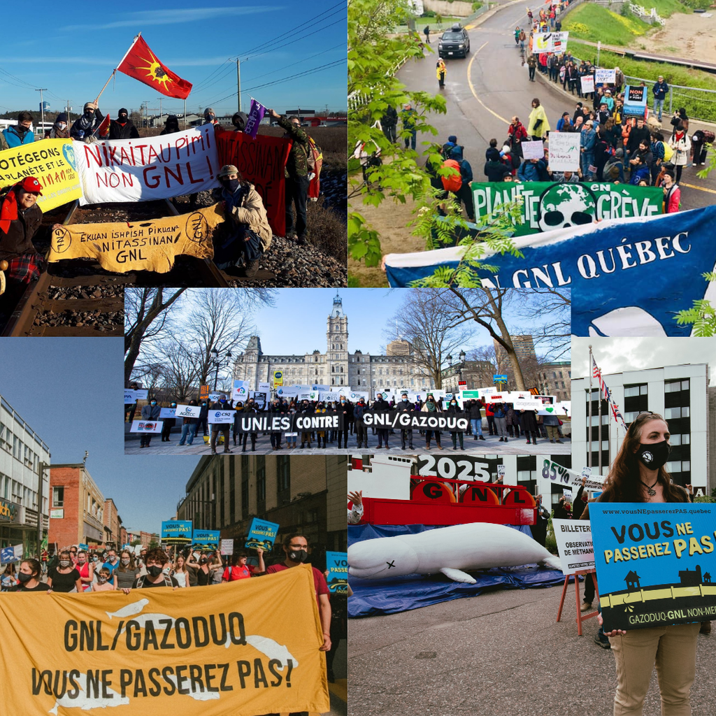 Overview of some of the mobilisations against GNL Quebec