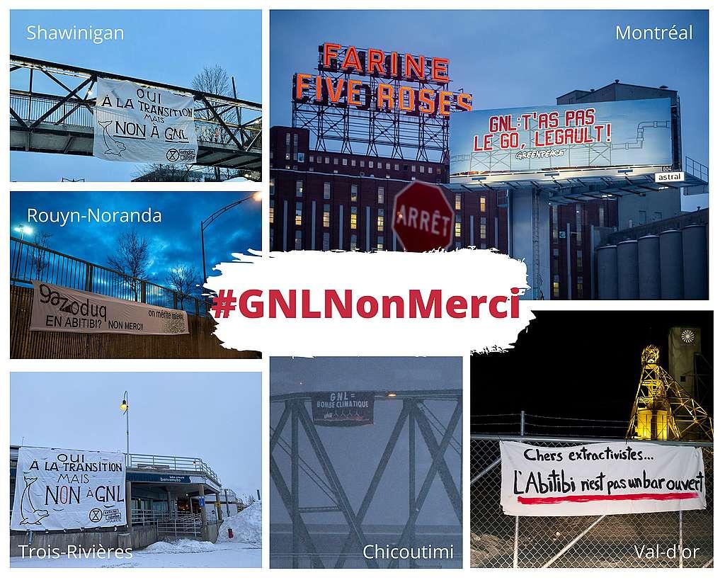 Bannières déployées aux quatre coins de la province contre GNL Québec