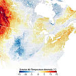 Map of the two metre air temperature anomaly over North M
