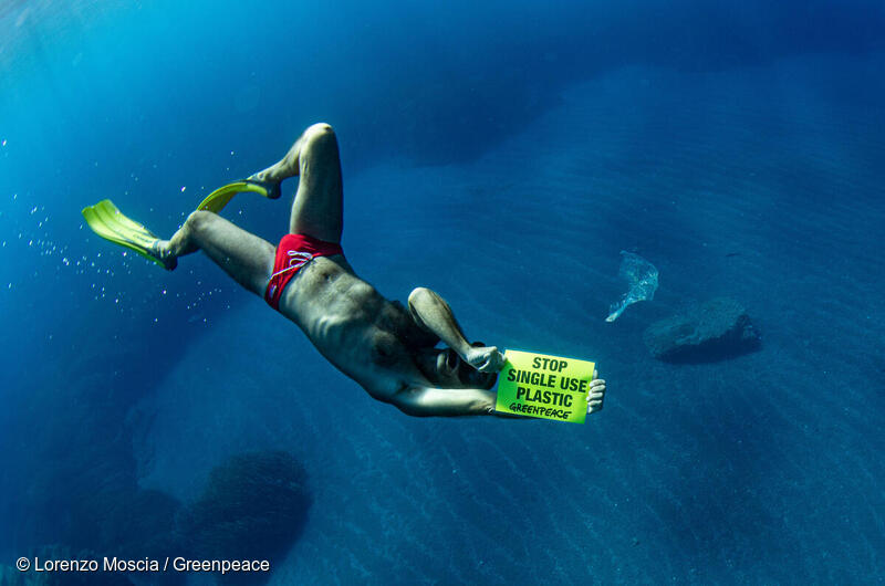 """A swimmer holding a sign """"stop single use plastic ban"""""""