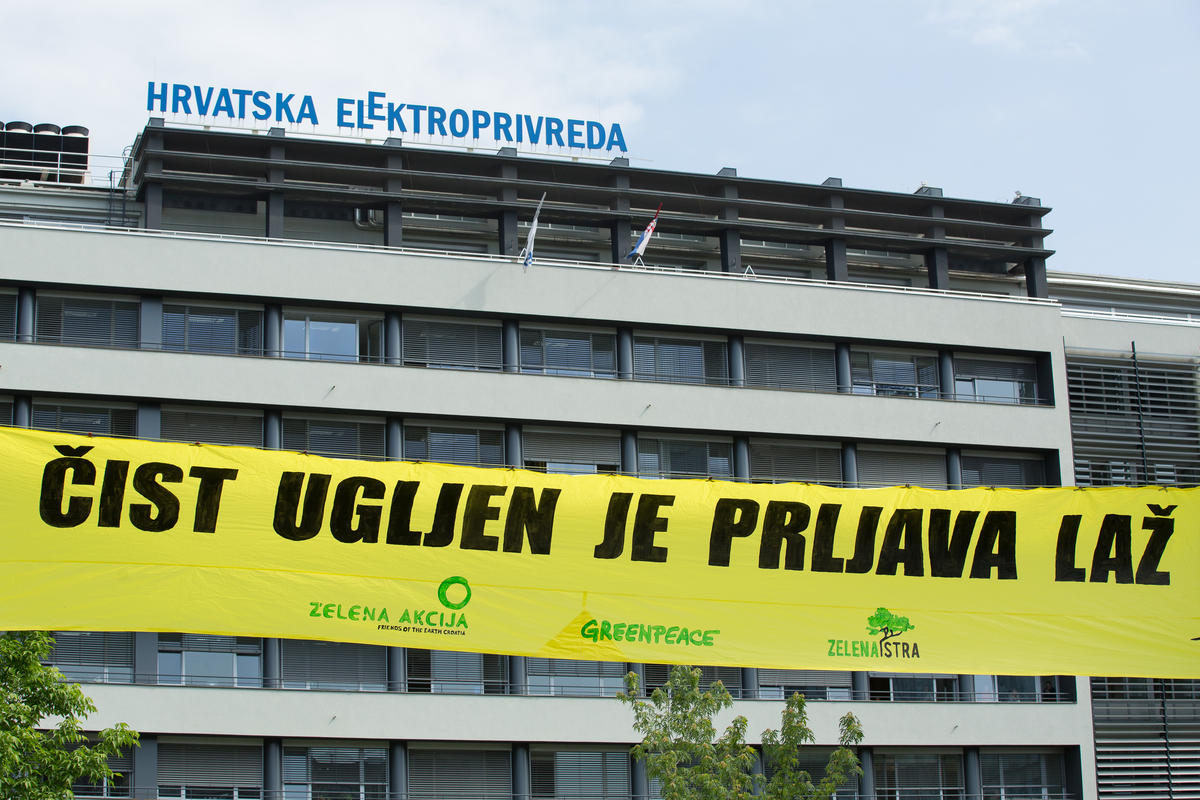Anti-coal Protest in Front of Main Energy Utility in Croatia. © Maja Bota / Greenpeace