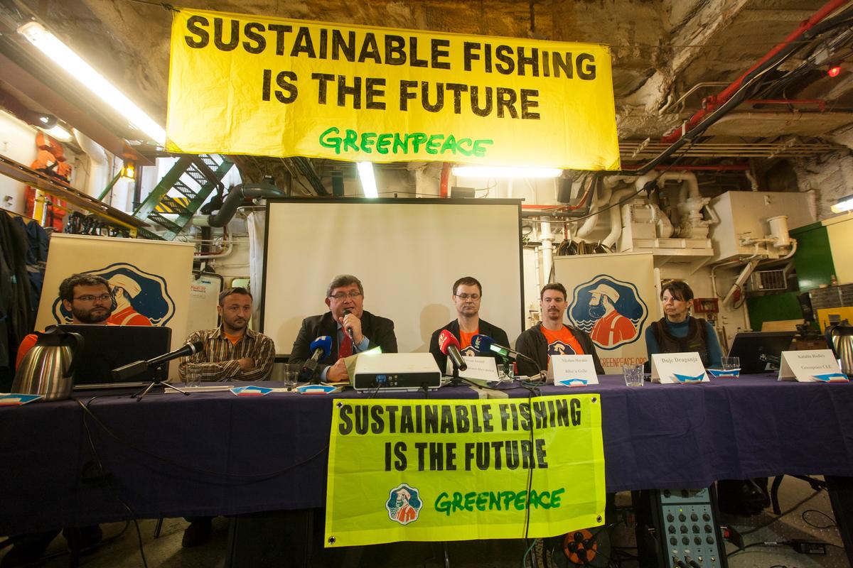 Press Conference on Arctic Sunrise in Croatia. © Philip Reynaers / Greenpeace