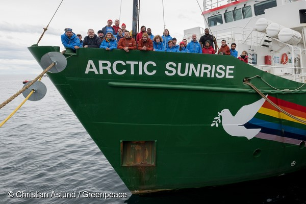 The crew of Arctic Sunrise in Punta Arenas, Chile, en route to the Antarctic for scientific research into the biodiversity of the Antarctic ocean. The scientists on board will gather data to strengthen the case for the creation of an ocean sanctuary in the Weddell Sea.