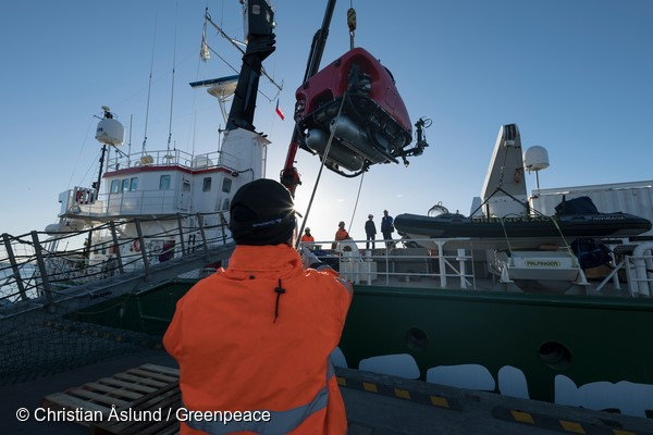 Submarines being loaded on Arctic Sunrise in Punta Arenas, Chile, en route to the Antarctic for scientific research into the biodiversity of the Antarctic ocean. The scientists on board will gather data to strengthen the case for the creation of an ocean sanctuary in the Weddell Sea.