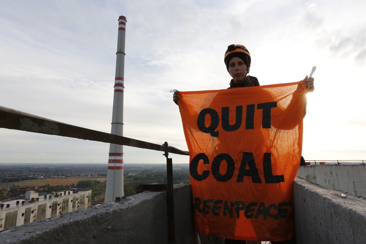 Chvaletice Power Plant Occupation in Czech Republic. © Will Rose / Greenpeace