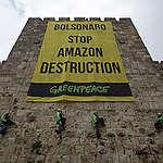 Protest against President Bolsonaro in Jerusalem. © Greenpeace