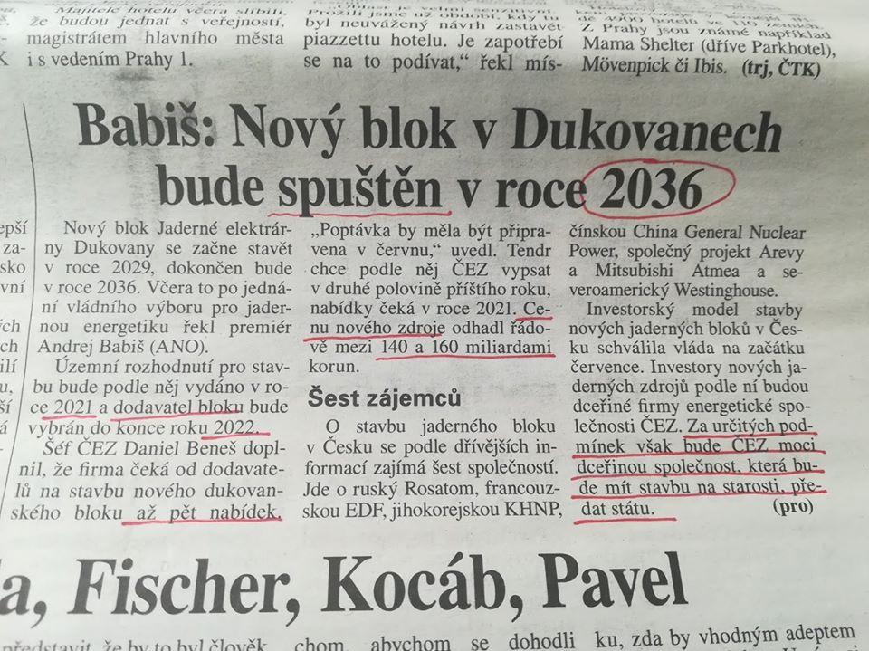 Mladá fronta a její chyby o rozvoji jádra v ČR.