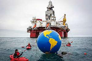 Arctic Sunrise Protests Arctic Oil Drilling in Barents Sea. © Nick Cobbing