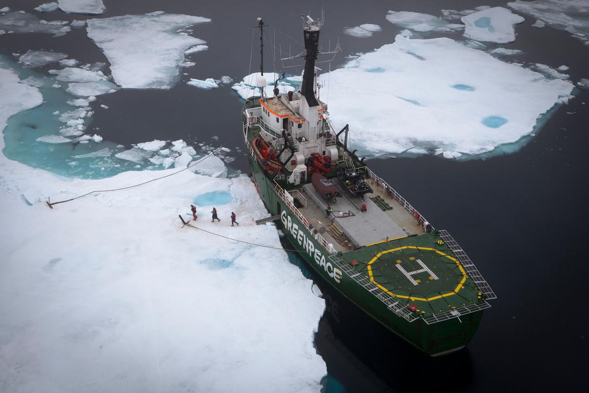MV Arctic Sunrise in Sea Ice. © Nick Cobbing