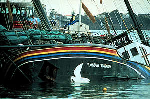 Aftermath of Shipwreck after the Rainbow Warrior Bombing in NZ. © John Miller