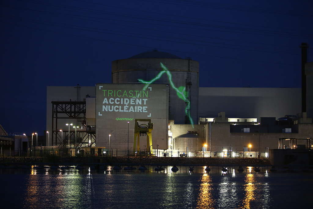 Action at Tricastin Nuclear Plant in France. © Micha Patault