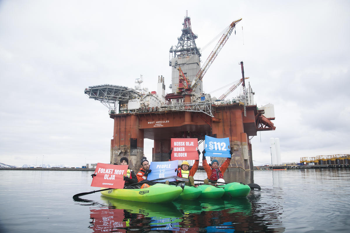Protest in Norway on Oil Rig Bound for Arctic Drilling. © Jonne Sippola / Greenpeace