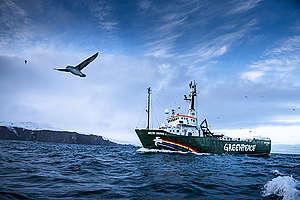 MY Arctic Sunrise at Bear Island in Norway. © Mitja  Kobal / Greenpeace