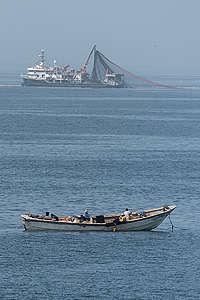 Fishing Pirogue and Turkish Seiner in Mauritania. © Pierre Gleizes / Greenpeace