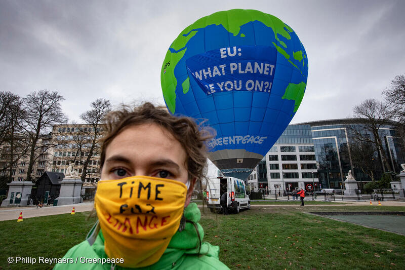 """Greenpeace Belgium activists float a 27-metre hot air balloon at a make-or-break EU summit in Brussels to warn that governments are not doing enough to confront the climate emergency. The balloon, depicting planet Earth and displaying a message reading: """"EU: What planet are you on?!"""", was placed near the building where European government leaders were expected to agree a new EU-wide climate target for 2030."""